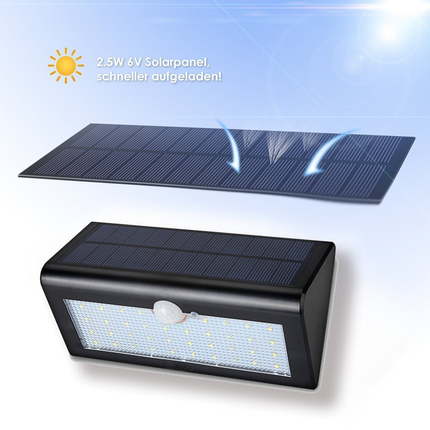Bentag 30 Led 6w Solar Outdoor Motion Sensor Wall Light