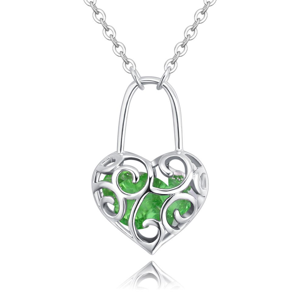 Fashion Women Hollow Flower Heart Crystal Wedding Engagement gift Pendant Necklace Jewelry Accessories
