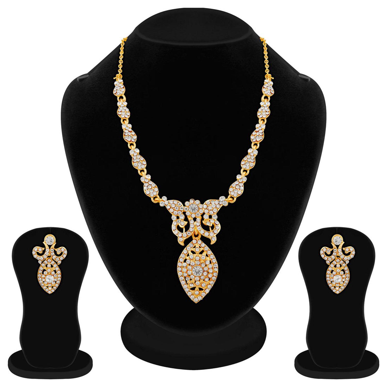 Apara Gold Plated Austrian Diamond Necklace Set For Women
