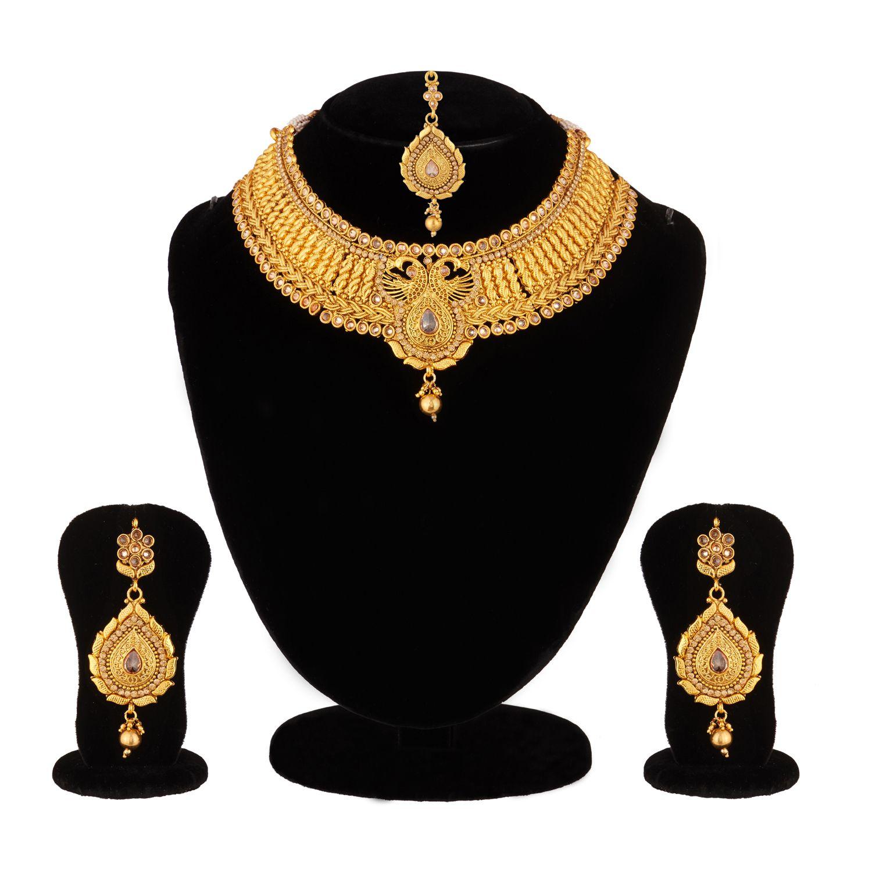 Apara Peacock Design Choker Necklace Set With Maang Tikka For Women / Girls