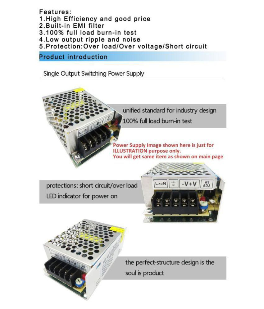 12 Volt 5 Amp 60 Watt DC SMPS Switching Mode Power Supply for CCTV & LED  Strip with Metal Case / Aluminum Base