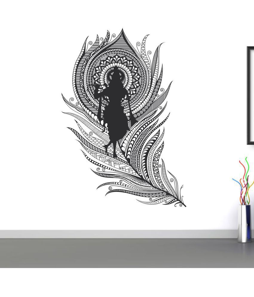 wall dreams krishna flute with peacock feather religious