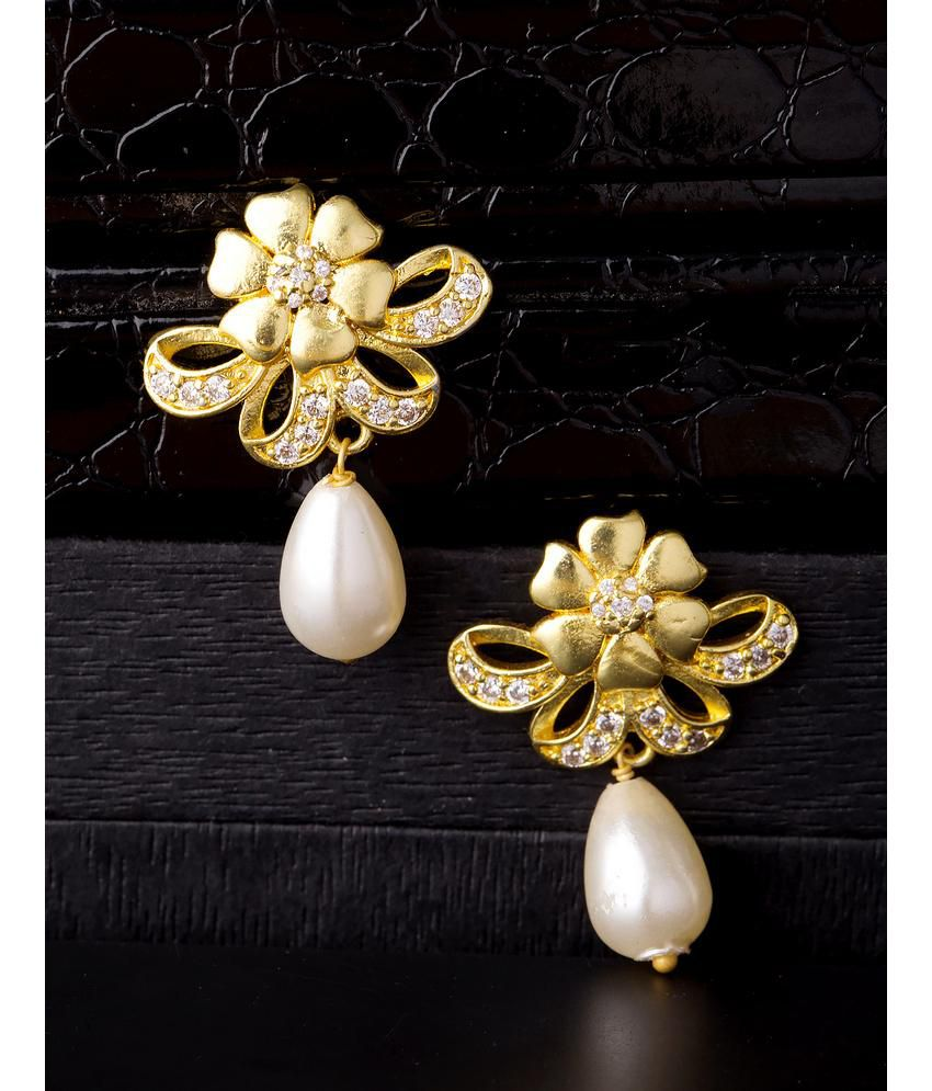 7cce494d7a227 Voylla Baroque Pearl Floral Drop Stud Earrings