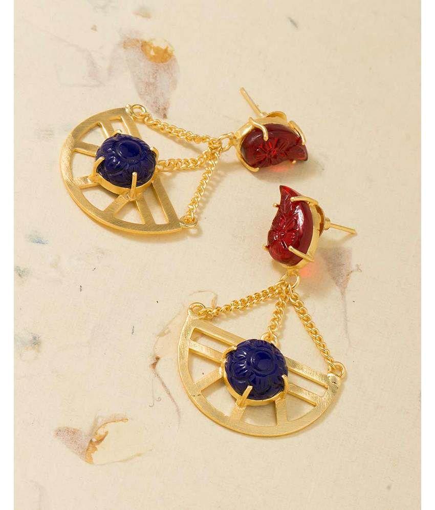 Voylla Golden Alloy Hanging Earrings