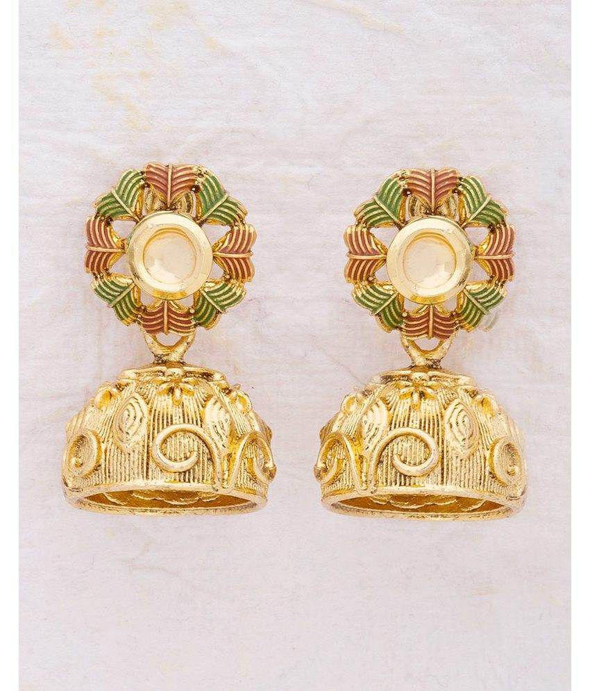 Voylla Kundan Encrusted Jhumki Style Earrings For Women