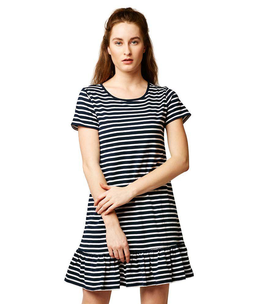 Miss Chase Cotton Multi Color A- line Dress