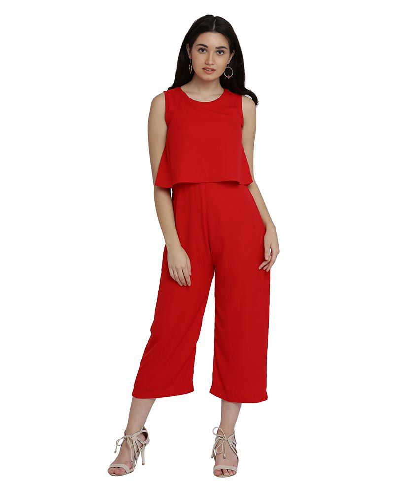 Miss Chase Crepe Red Jumpsuits