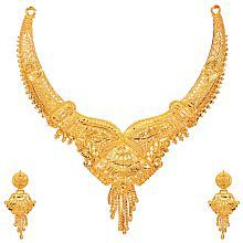 Mansiyaorange Traditional Original Look One Gram Golden Necklace For Women