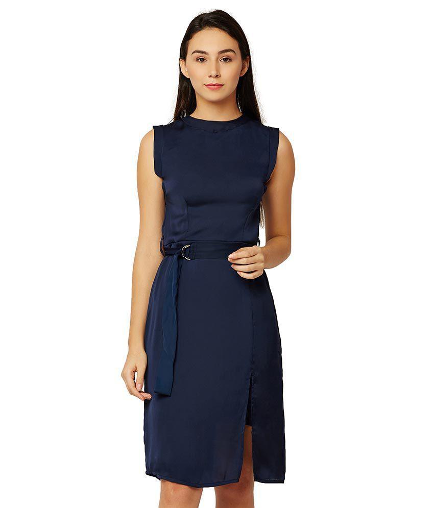 Miss Chase Satin Navy Dresses