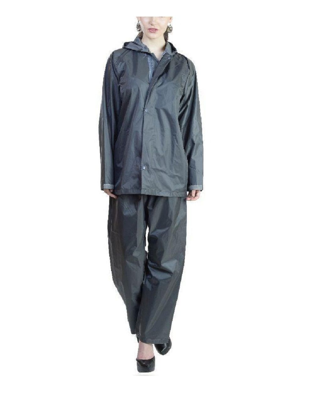 ZAINEE CLOTHING Nylon Raincoat Set - Black