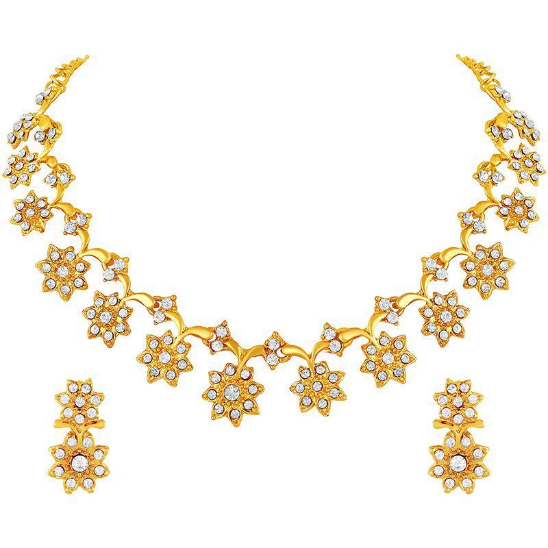Asmitta Fancy Flower Design Gold Plated Choker Style ...