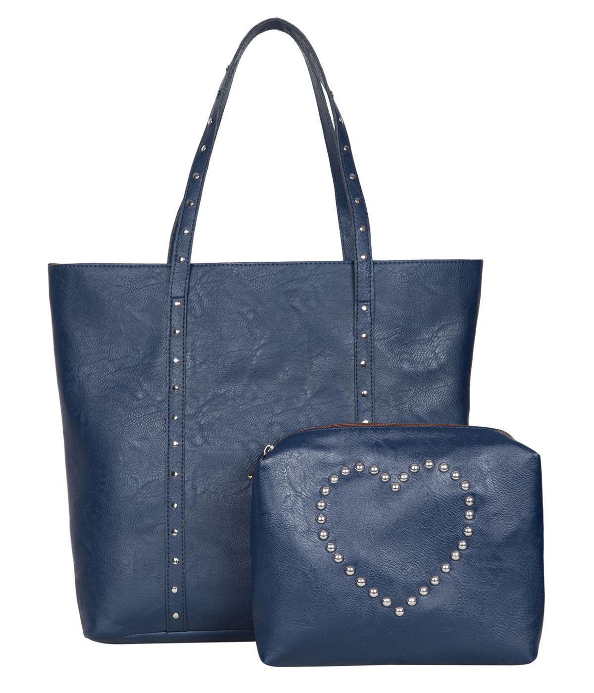 704b603d8f Bagsy Malone Navy Faux Leather Tote Bag - Buy Bagsy Malone Navy Faux  Leather Tote Bag Online at Best Prices in India on Snapdeal