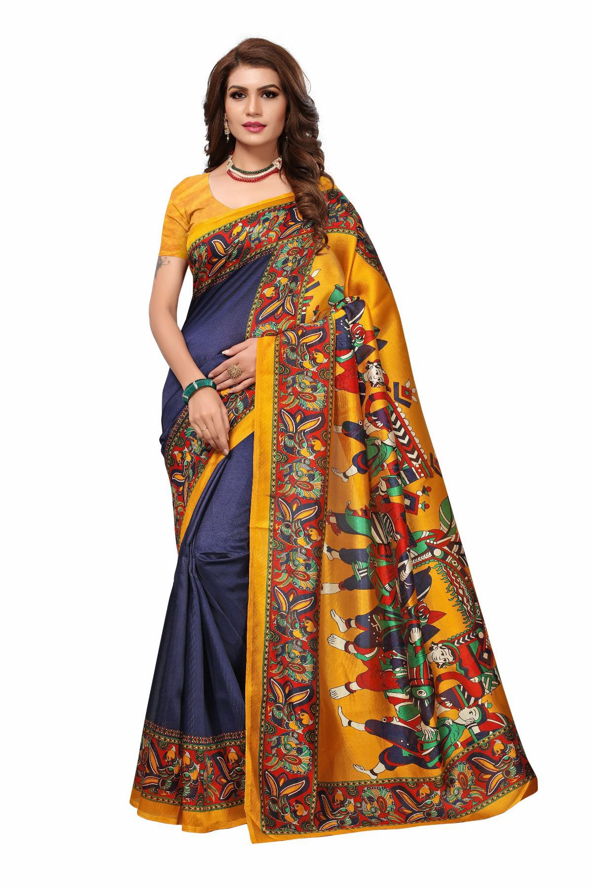 Samvegi Creation Navy Mysore Silk Saree