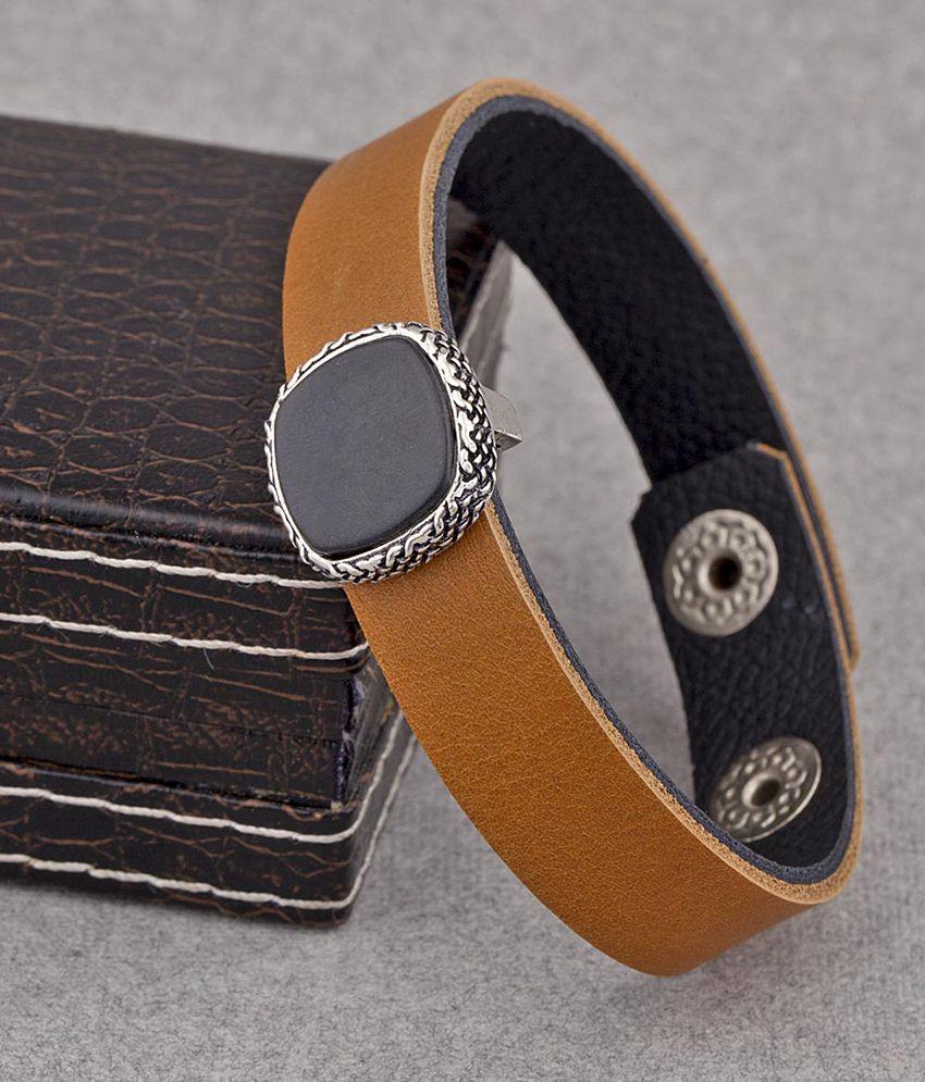 Dare by Voylla Sleek Brown Leather Milestone Bracelet