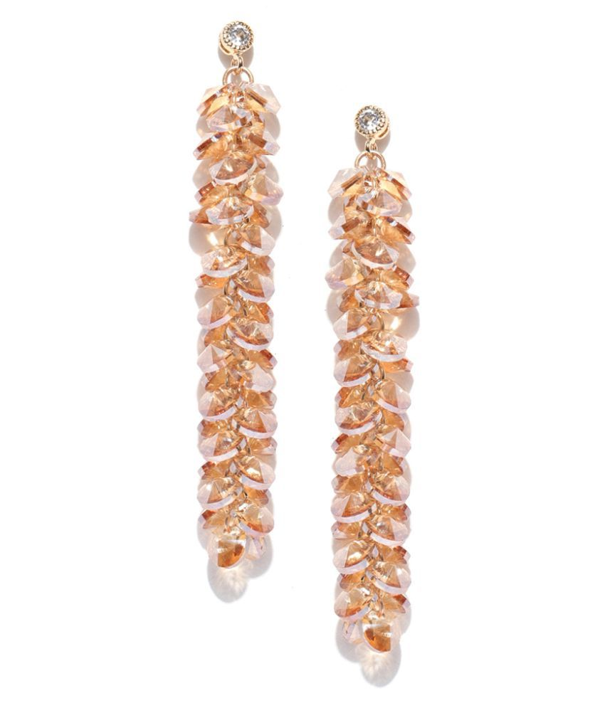 Jewels Galaxy Luxuria Delicate Studded Crystal Gold Plated Glistening Drop Earrings For Women/Girls