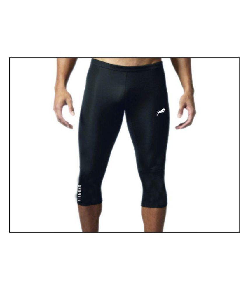 Rider 3/4 Capri Length Compression Tights Fitness & Other Outdoor Inner Wear Multi Sports Cycling, Cricket, Football, Badminton, Gym,