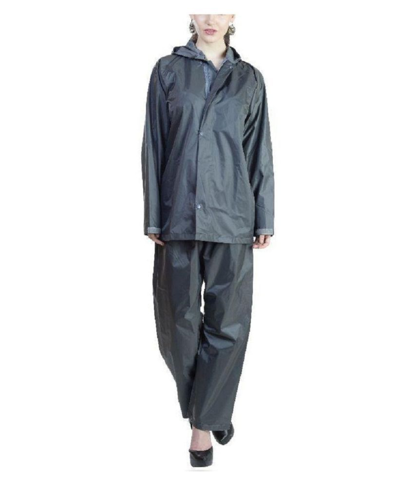 SPZ FASHION Nylon Raincoat Set - Black