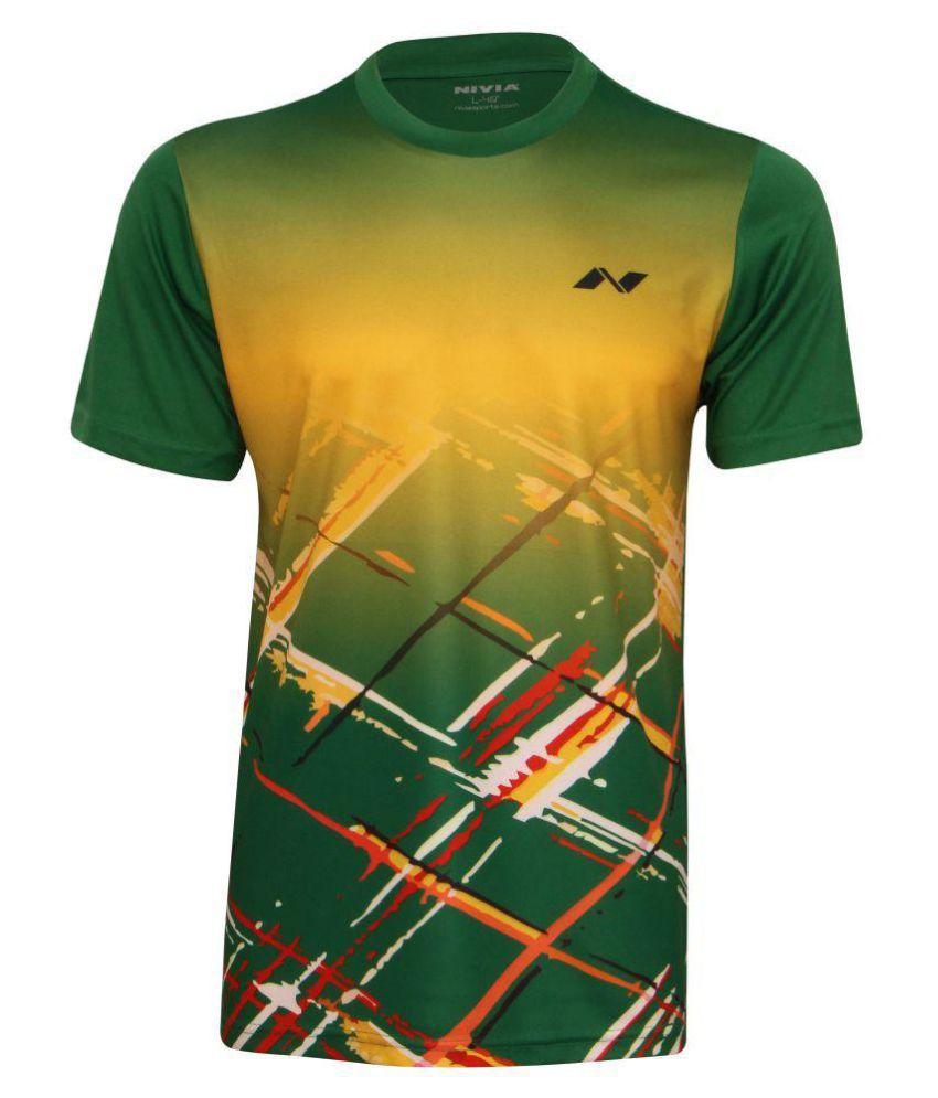 Nivia Green Polyester T-Shirt-2353S3