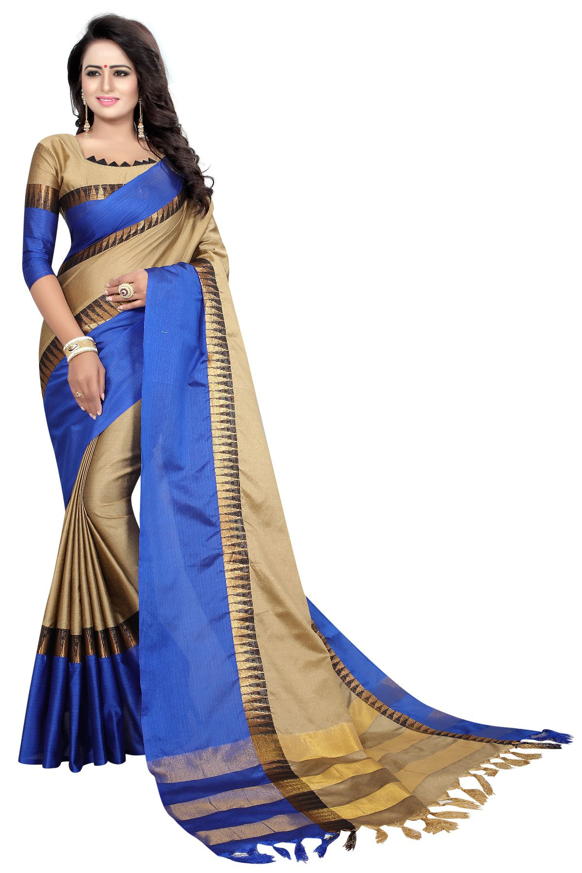Femiro Fab Blue and Beige Jacquard Saree
