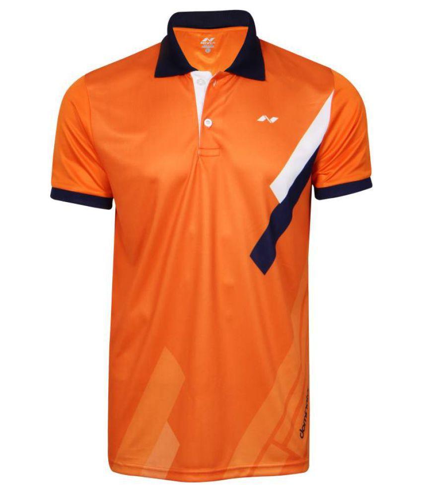 Nivia Orange Polyester Polo T-Shirt-2556m2