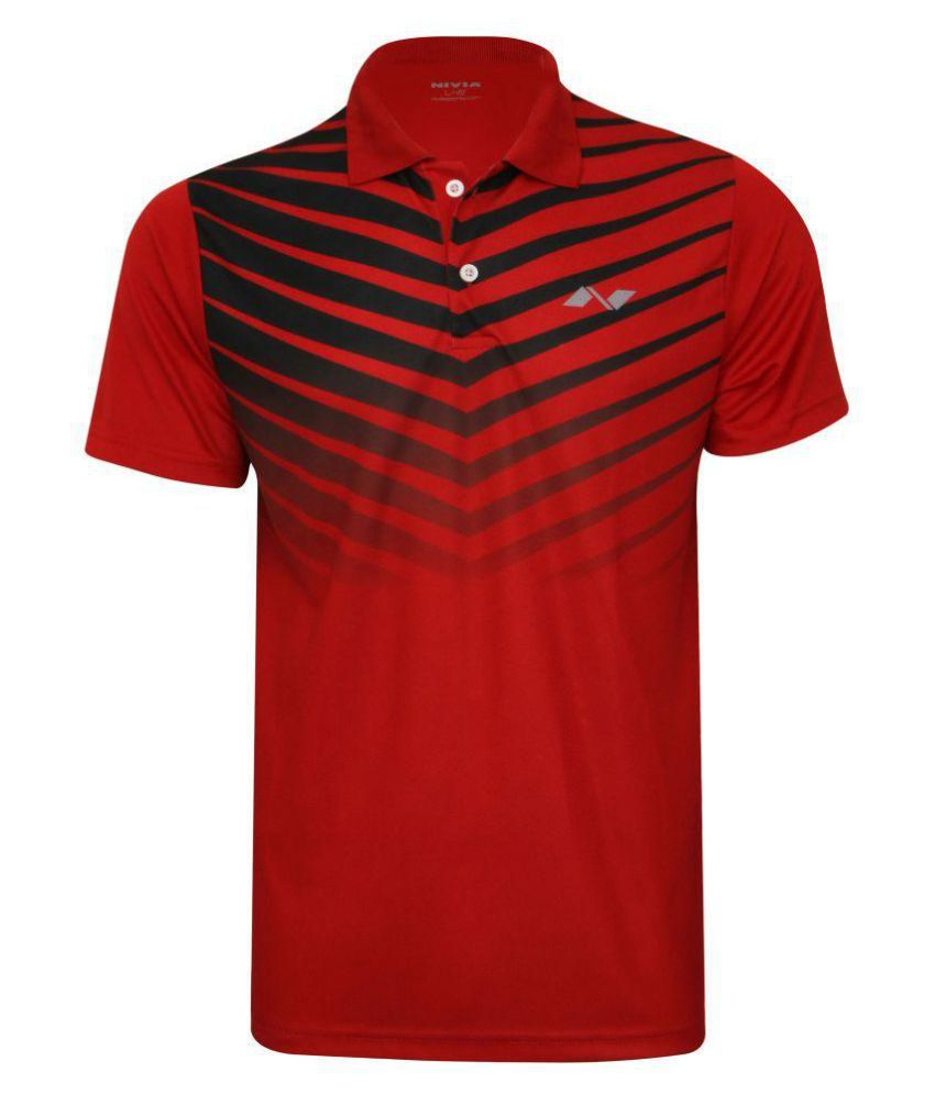Nivia Red Polyester Polo T-Shirt-2354M2