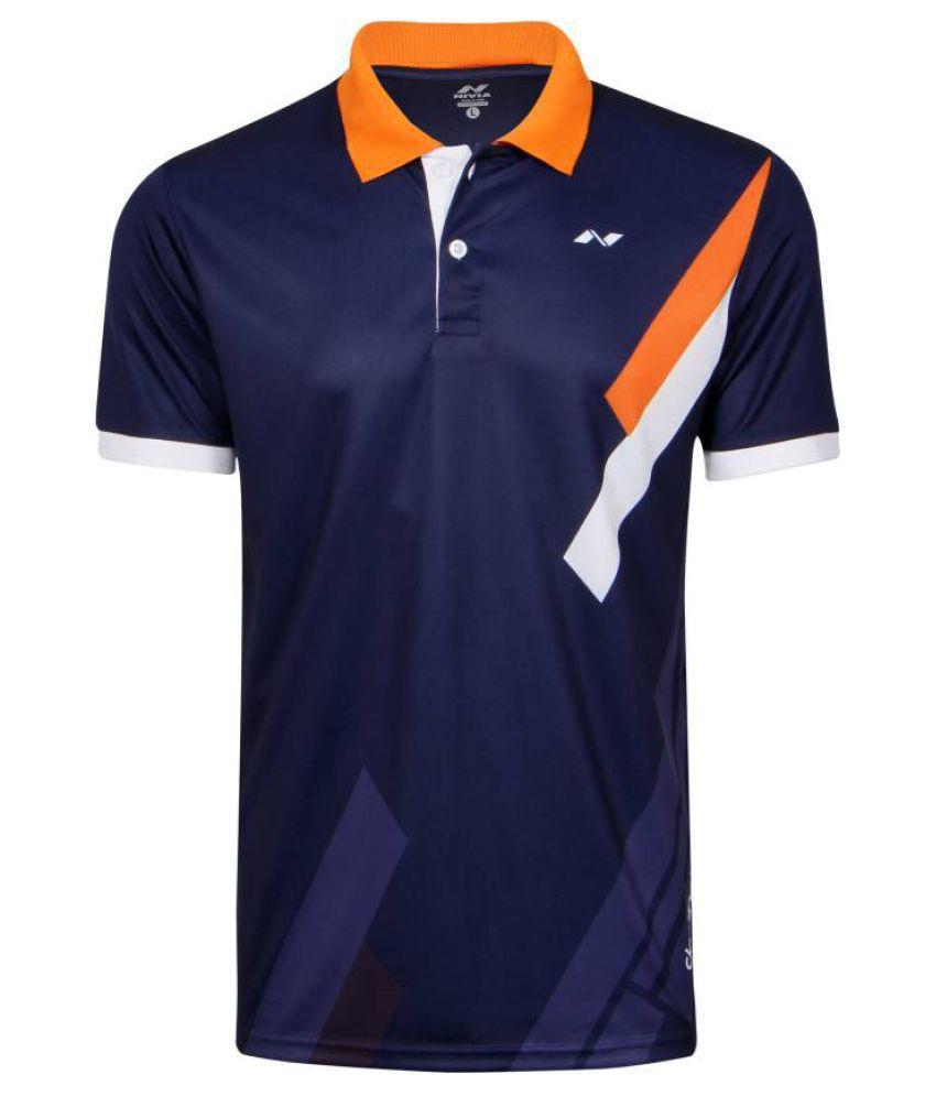 Nivia Blue Polyester Polo T-Shirt-2556l3