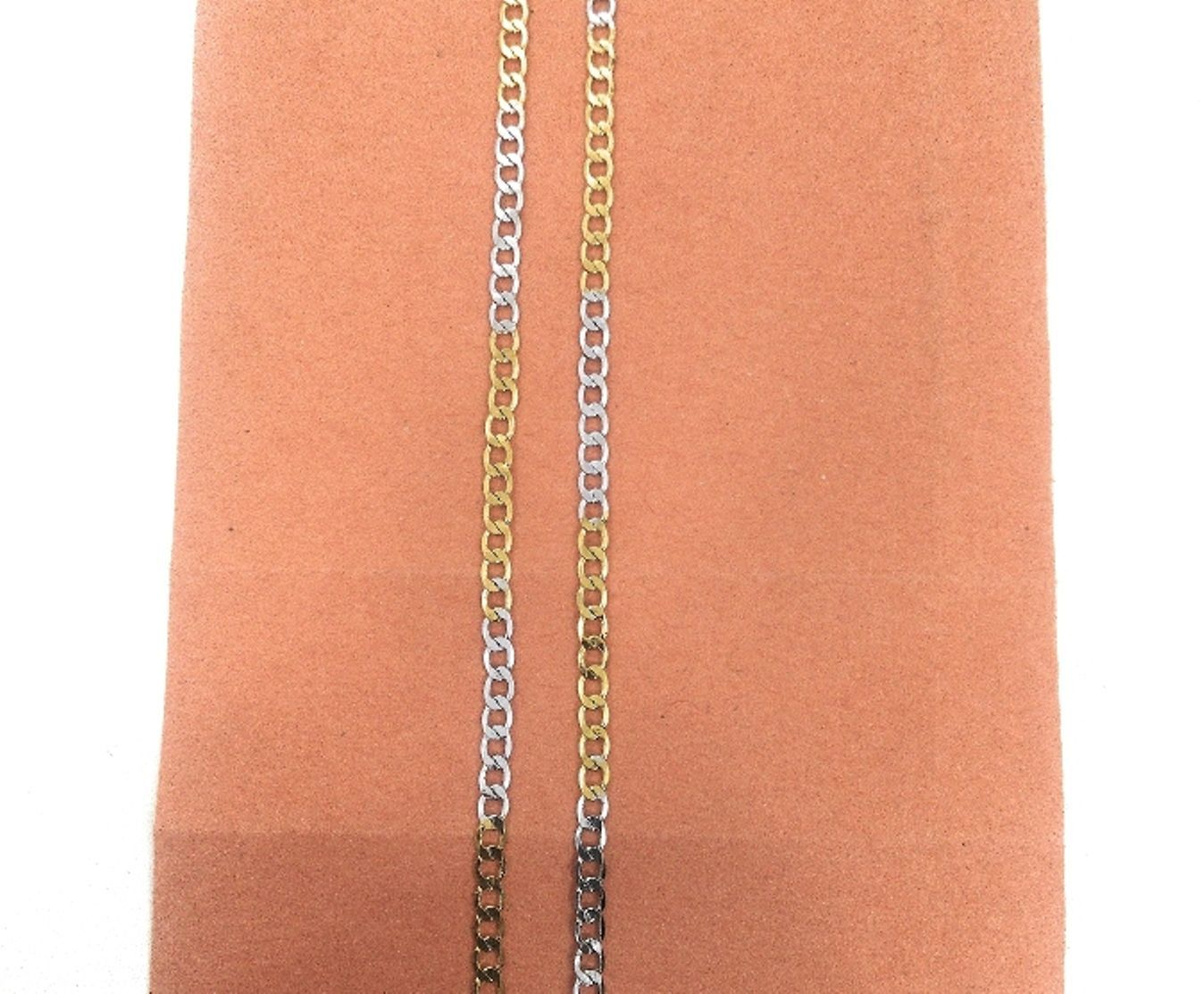 Silver-Gold Two Tone Neck Chain for Men & Boys, 17.5 Inch Long, 0.3 Centimeters Wide, Metal Chain, Short Chain Close to Neck