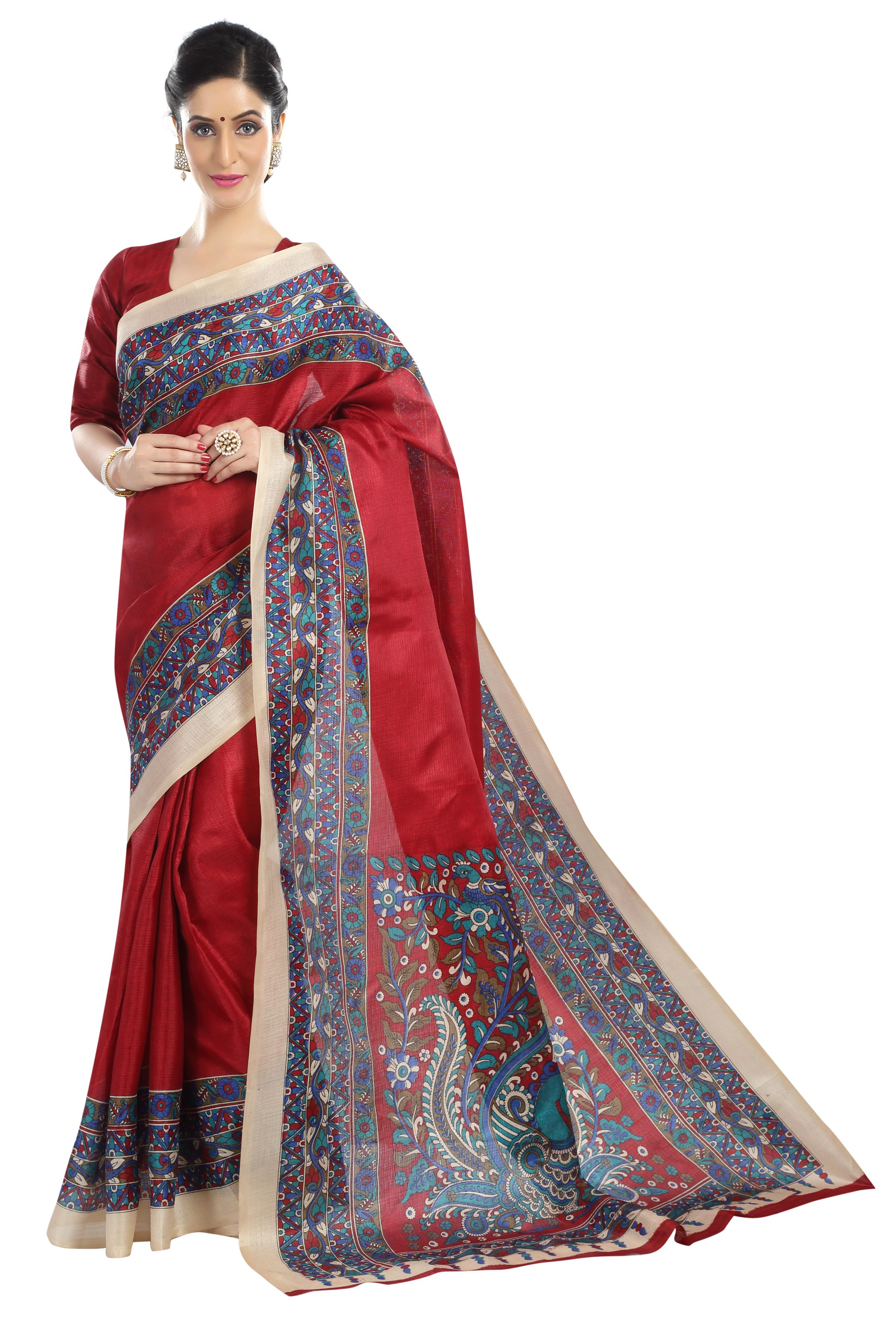 Fragrance Trendz Red Bhagalpuri Silk Saree