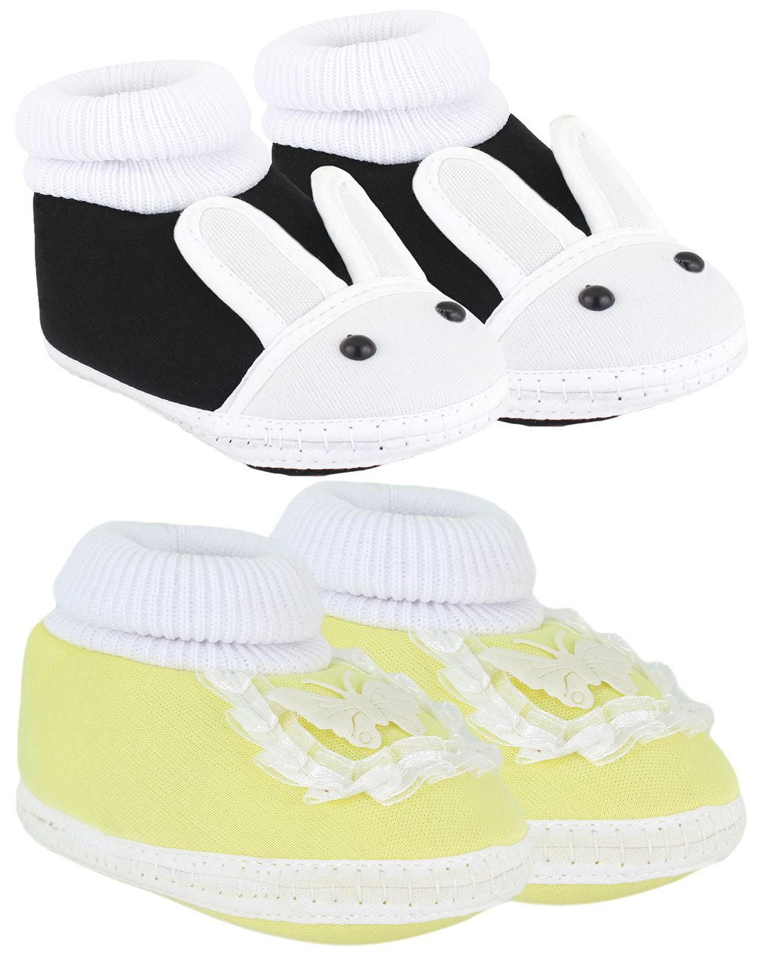 Neska Moda Pack Of 2 Baby Boys & Girls Black And Yellow Cotton Booties For 0 To 12 Months
