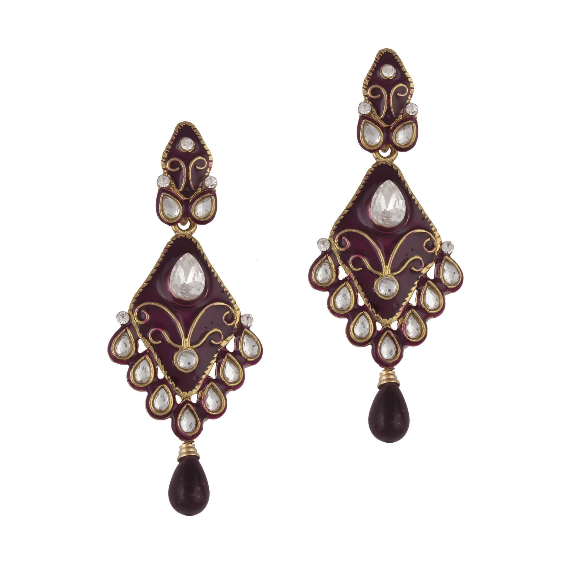 Variation Purple Enamel Kundan Earring For Women - VD13919
