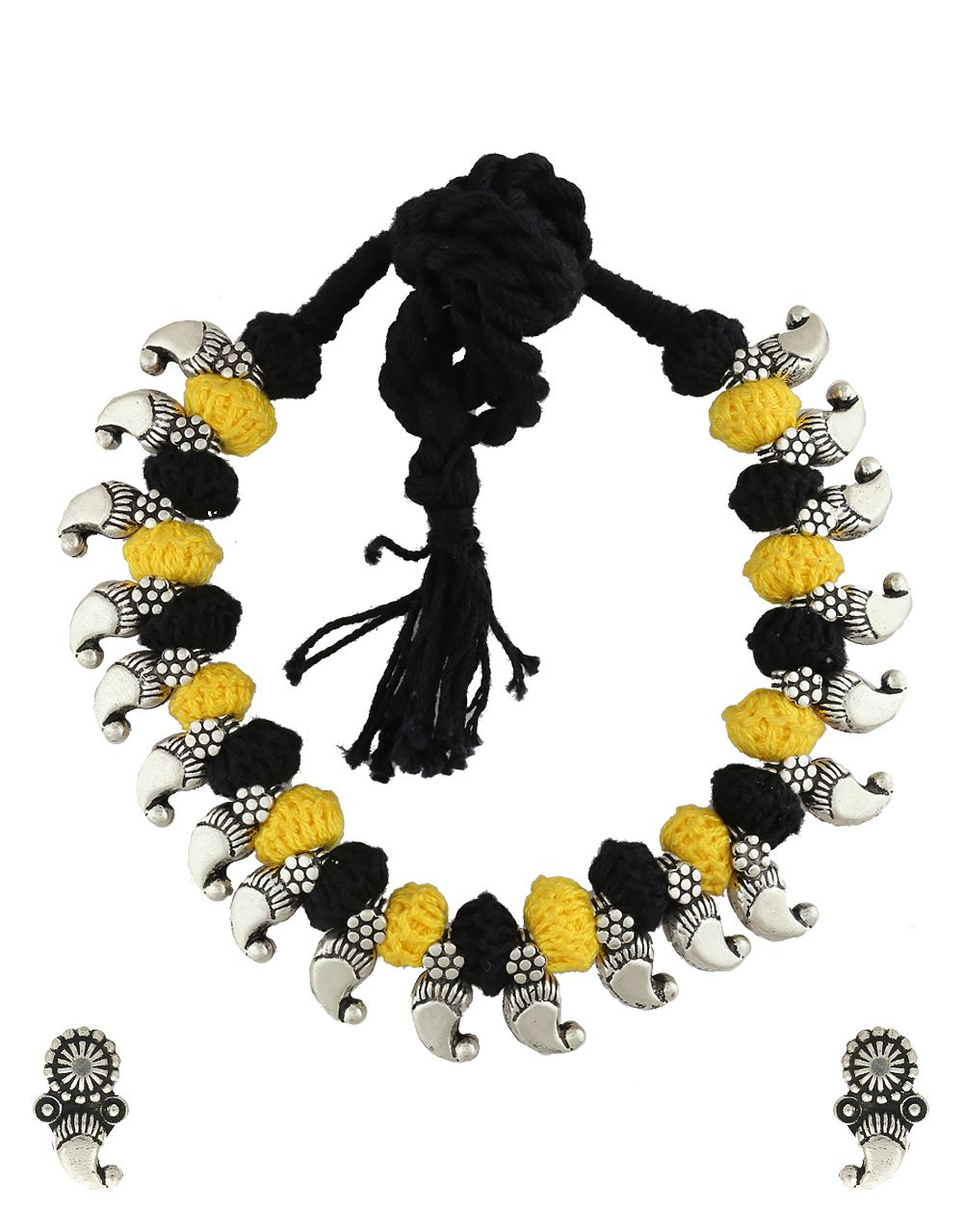 Anuradha Art Silver Tone Oxidized Designer Yellow-Black Colour Thred Necklace Set For Women/Girls