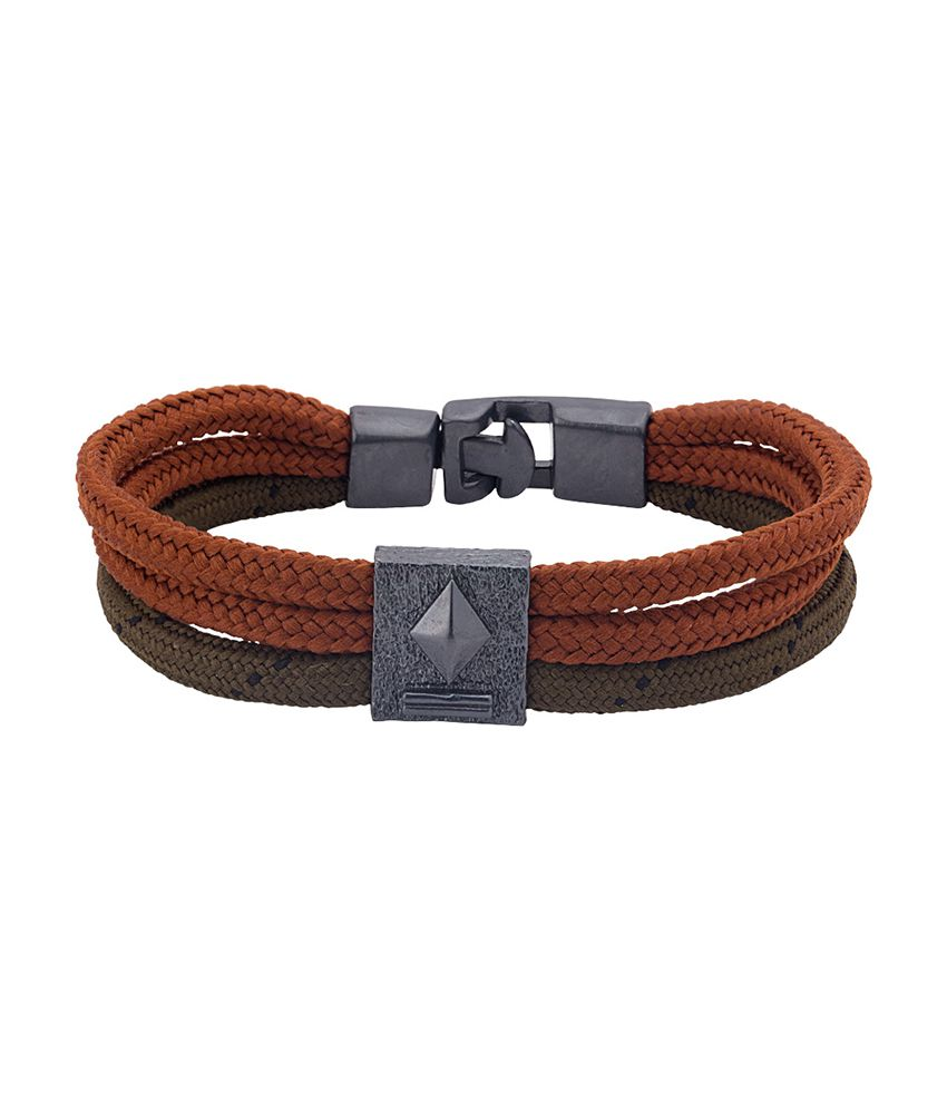 Dare Trendy Black Rhodium Cotton Cord Bracelet by Squad Collection for men
