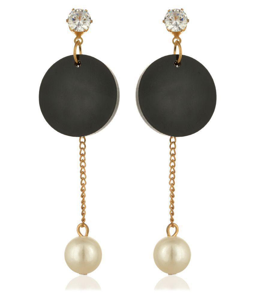 Fab Jewel Fashionable Black Alloy Fancy Party Wear Earrings for Girls and Women