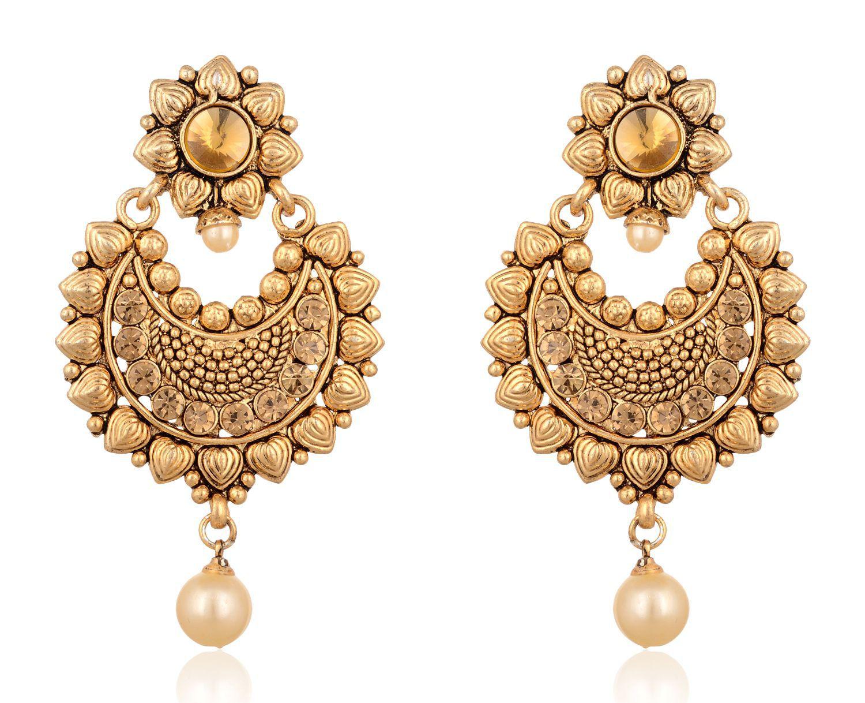 Fab Jewel Fashionable Gold Brass Chandbali Earring