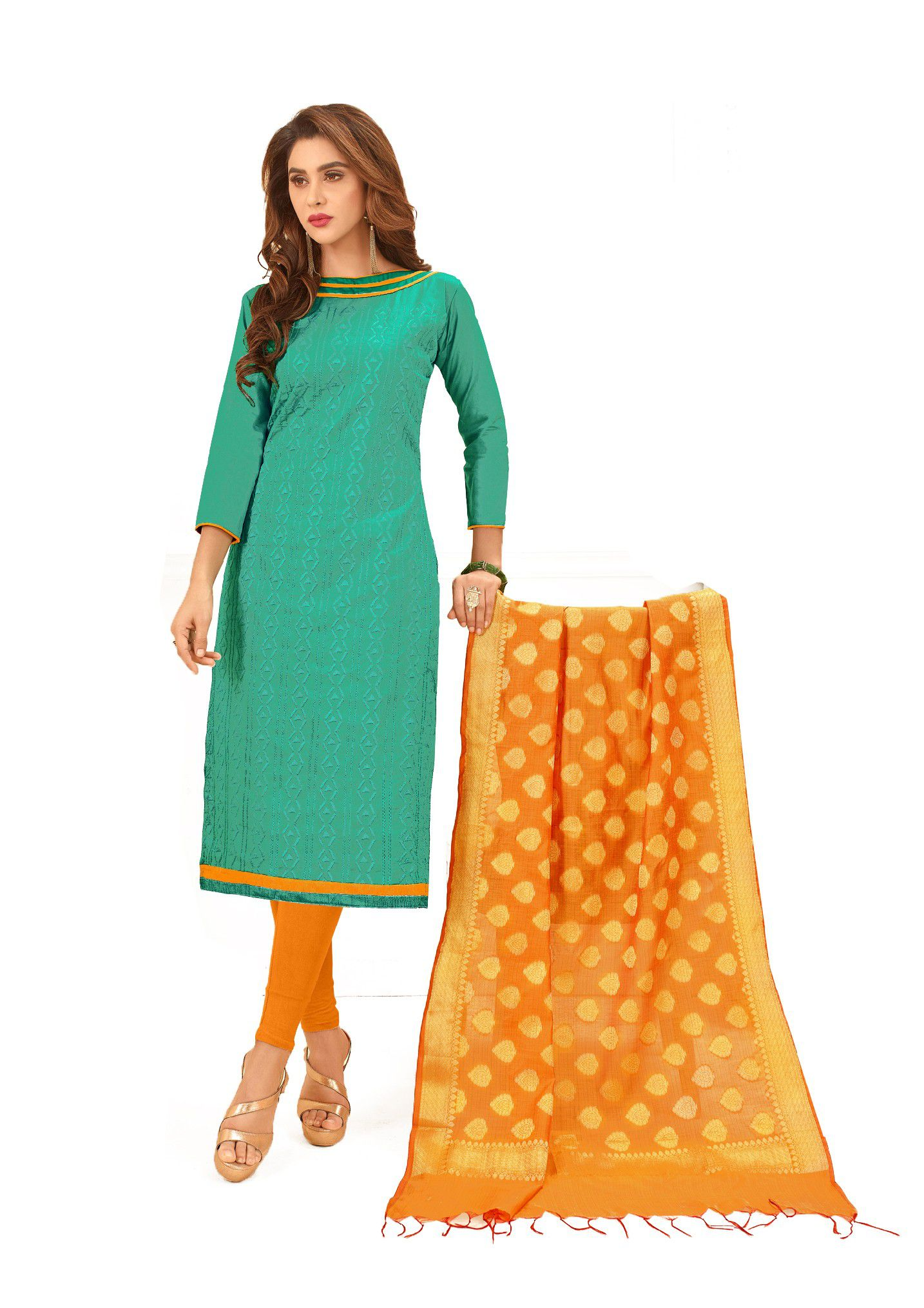 JHEENU Green Cotton Dress Material