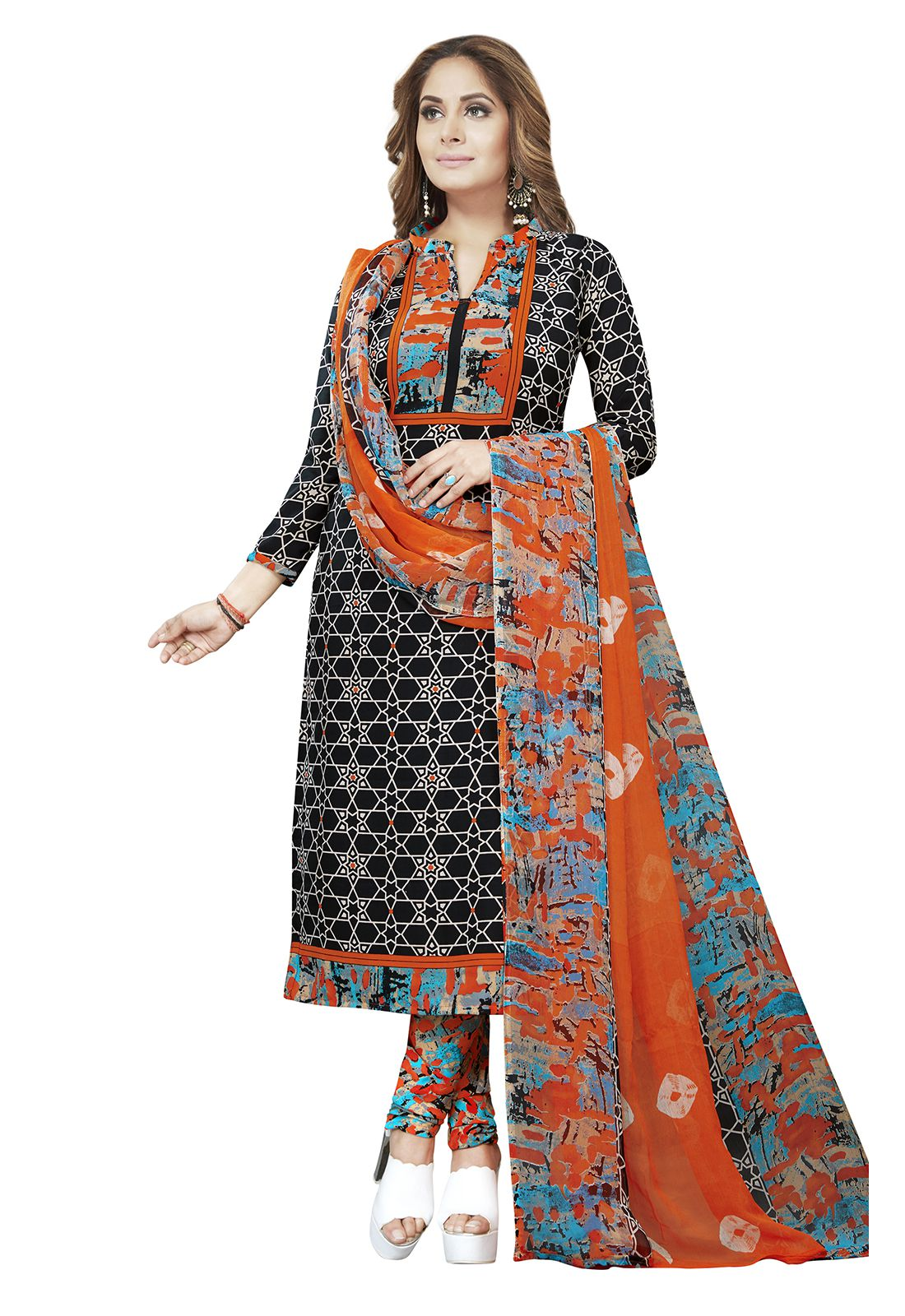 Ishin Multicoloured Synthetic Dress Material