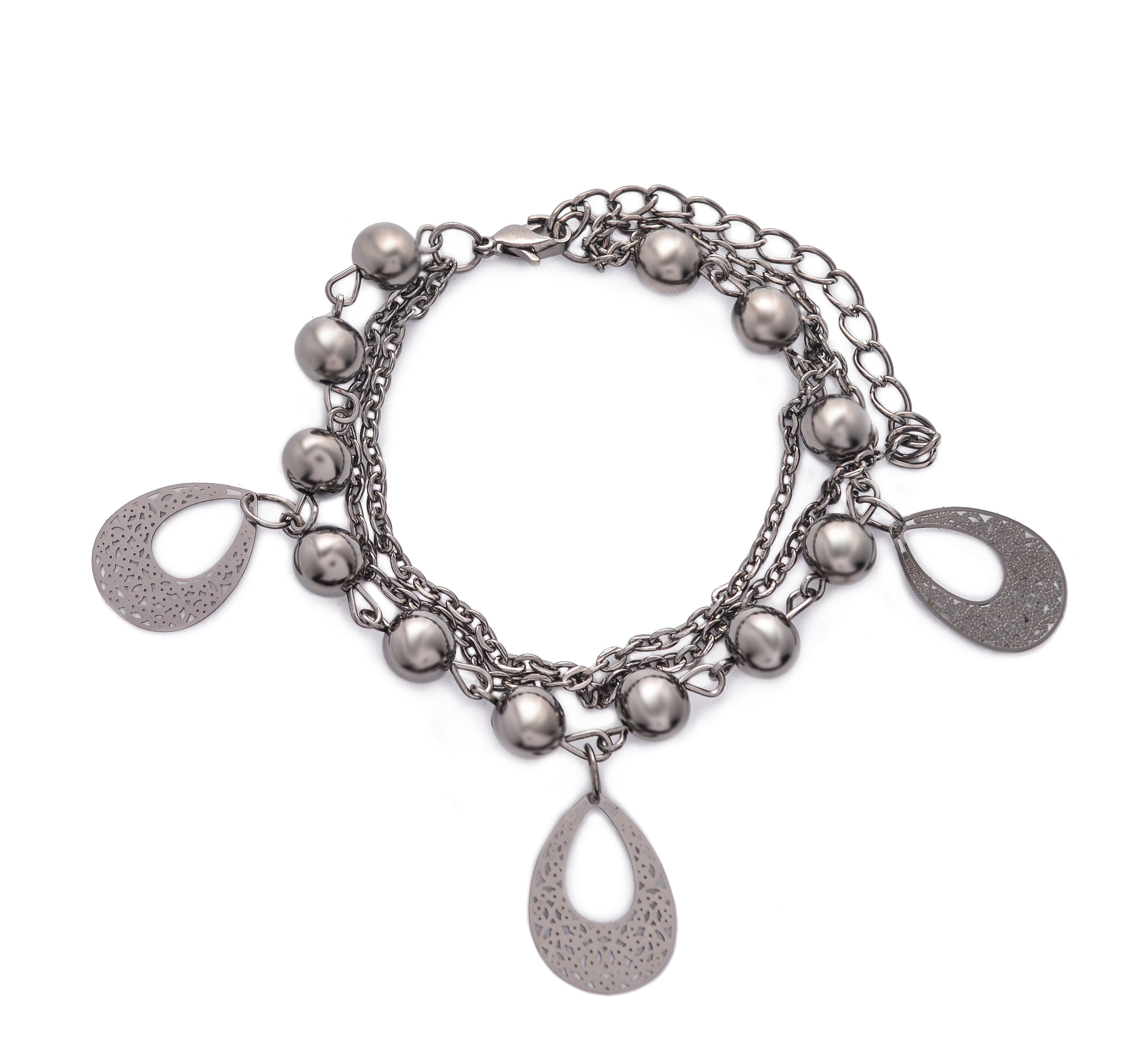 Silver two in one link chain bracelet with crescent pendants