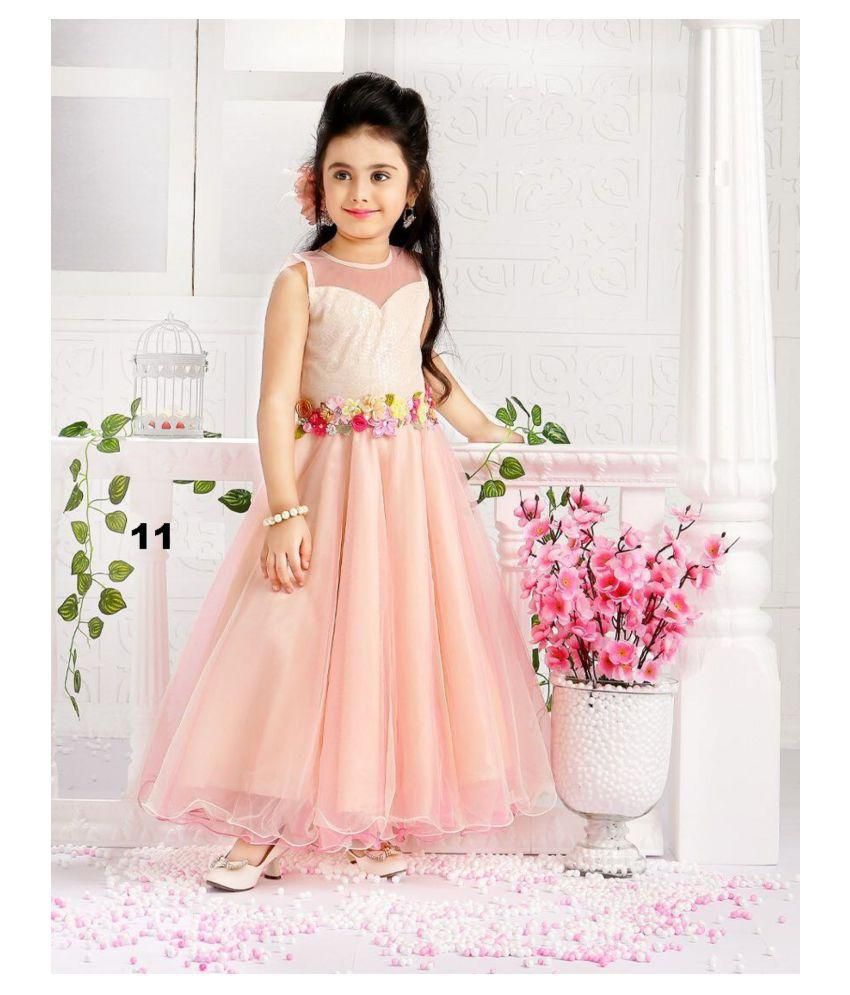 3f8b1a394d8d1 White Button new Designer Girl's Style Pink N Peach Satin Silk Partywear ReadyMade  Kids Gown Dress - Buy White Button new Designer Girl's Style Pink N Peach  ...