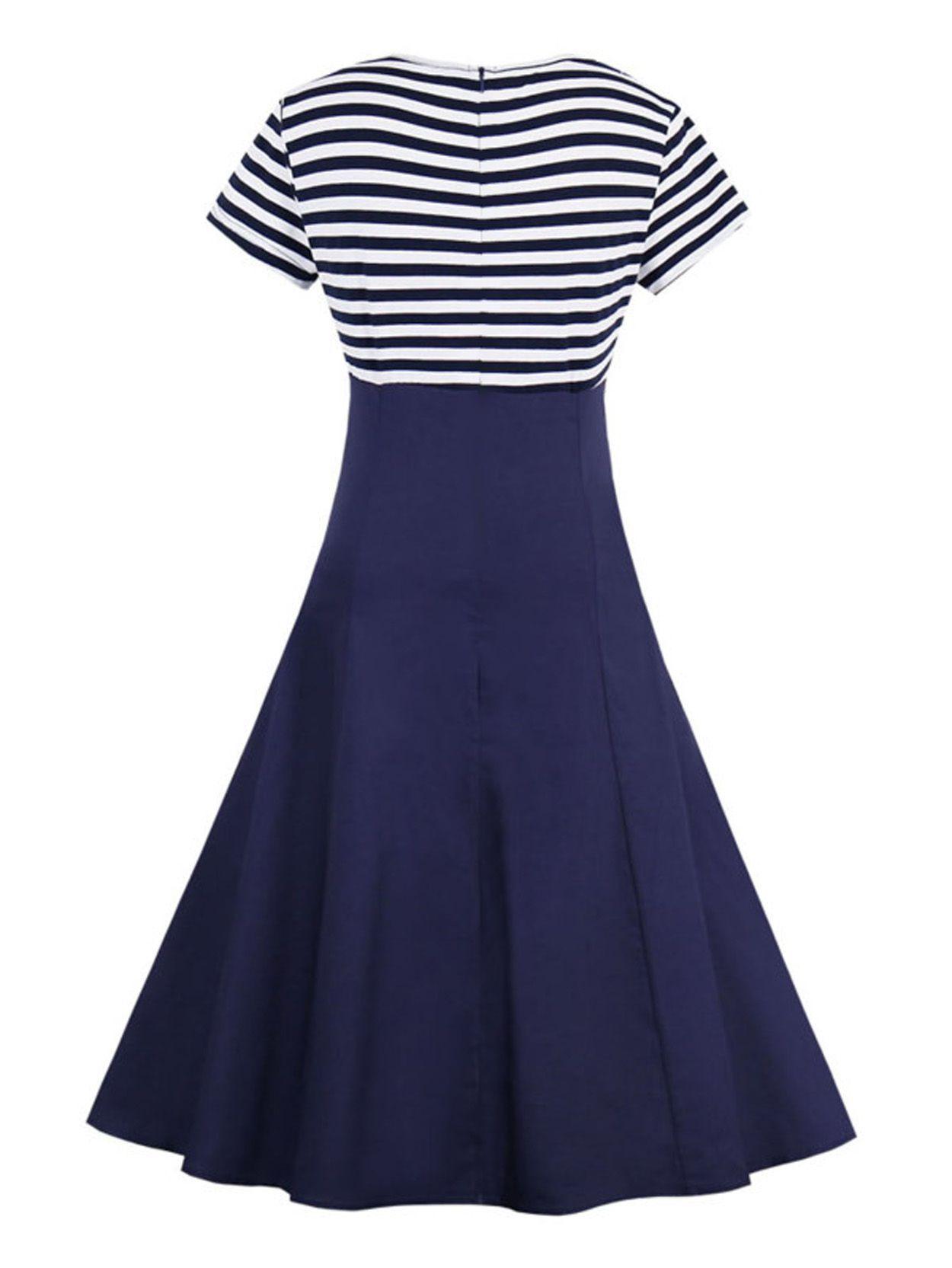 ea72c77e1 AD   AV Girls Blue Stripe Collar Partywear Frock Dress for Girl ...