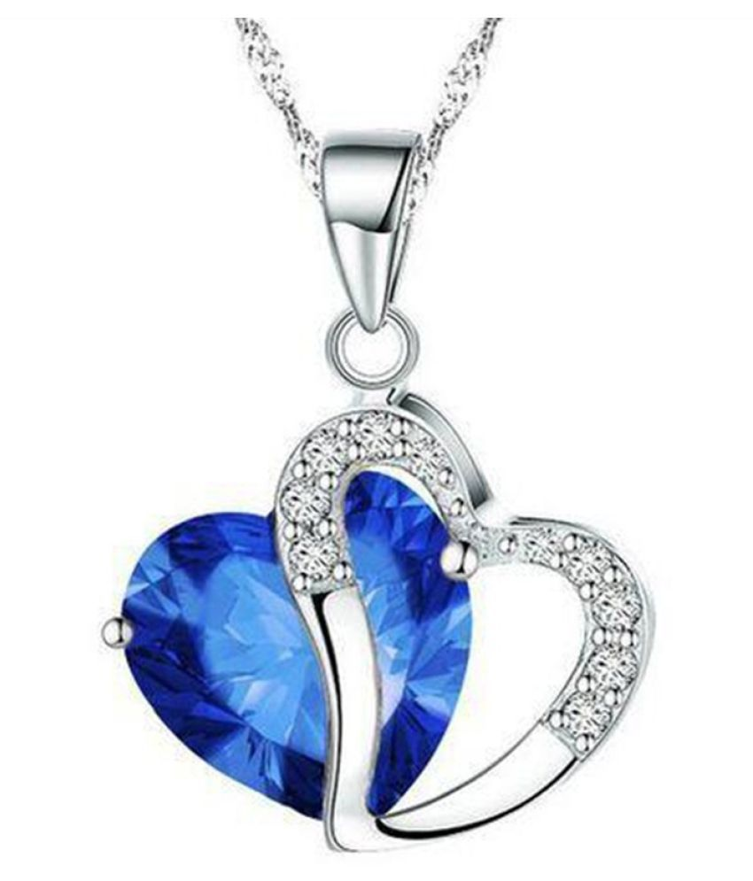 Stylish Aqua Heart Amethyst Gemstone Blue Crystal Sterling Silver Pendant Necklace Gift