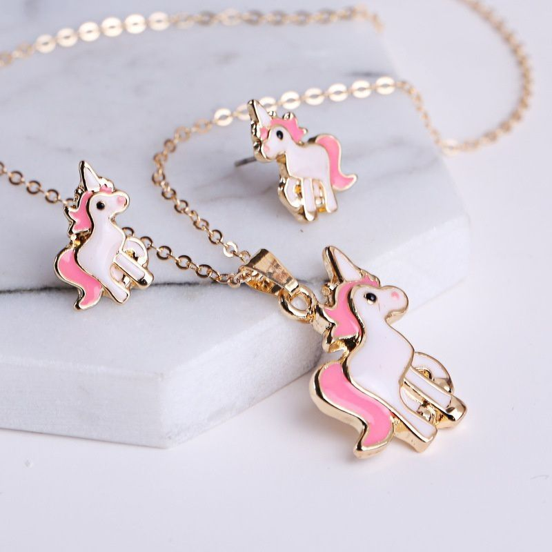 1 Set Pink Horse Unicorn Jewelry Sets Kits for Women Girl Animal Decorations Earrings Necklaces