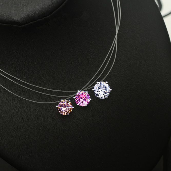 5 colors Dazzling Zircon Necklace Invisible Transparent Fishing Line Simple Pendant Necklace Jewelry for women party