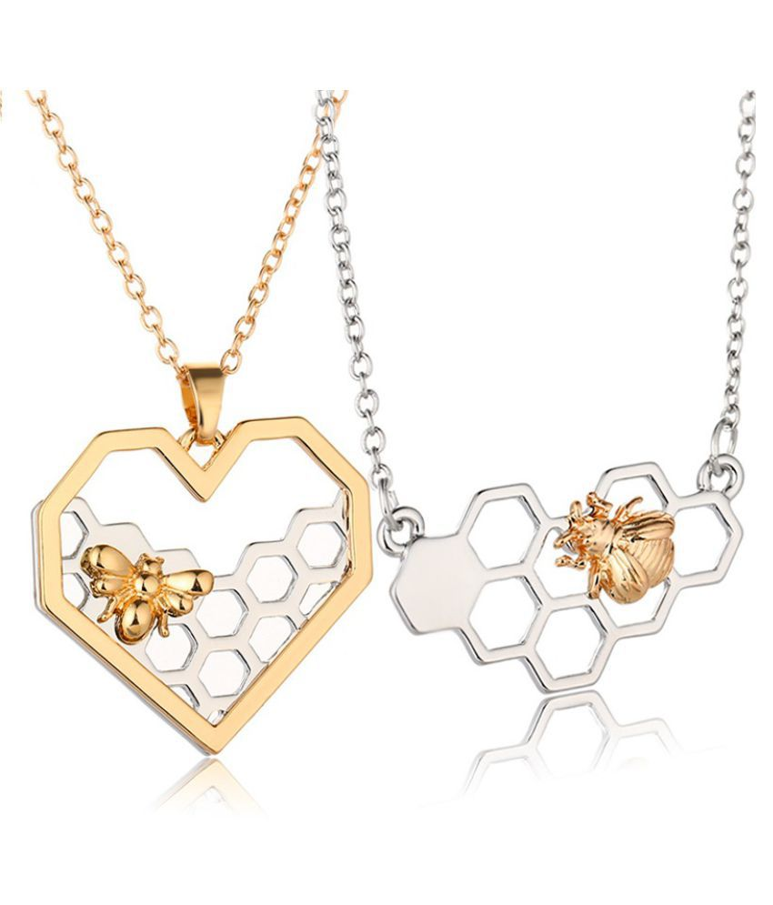 Chain Necklace Charm Honeycomb Bee Heart Pendant Gold Silver Trendy Alloy Necklaces Pendants for Women Birthday Gift Party Jewelry Accessories
