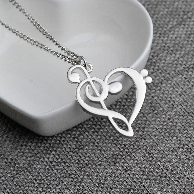 Fashion Jewelry Silver Plated Love Heart Treble Clef Music Note Pendant Necklace