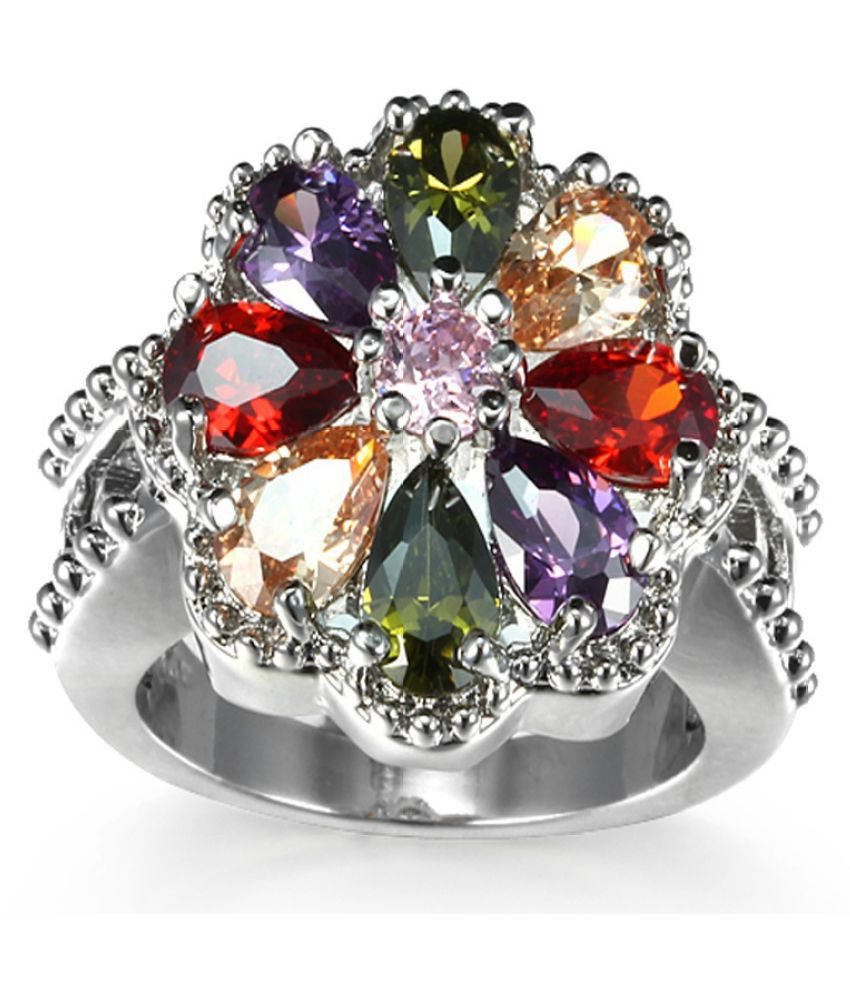 Fashion Women 925 sterling silver Multicolor gemstones CZ Natural topaz Ring size6 7 8 9 10