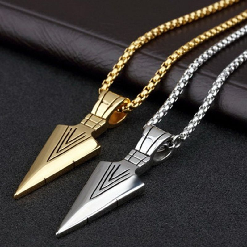 Hiphop/Rock  Men's  Arrow Pendant Necklace Long Chain Silver Gold Color Fashion Jewelry with 21 Inch Chain Mens Jewellery Colliers