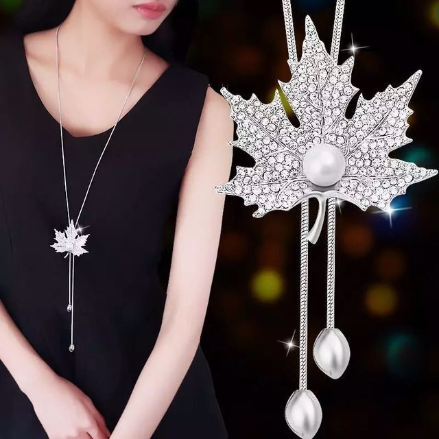 Luxury Fashion Charm Bridal Wedding Crystal Pearls Pendant Necklace Sweater Chains Trendy Statement Silver Plated Rhinestone Leaf Long Necklace Women Fine Jewelry Gifts
