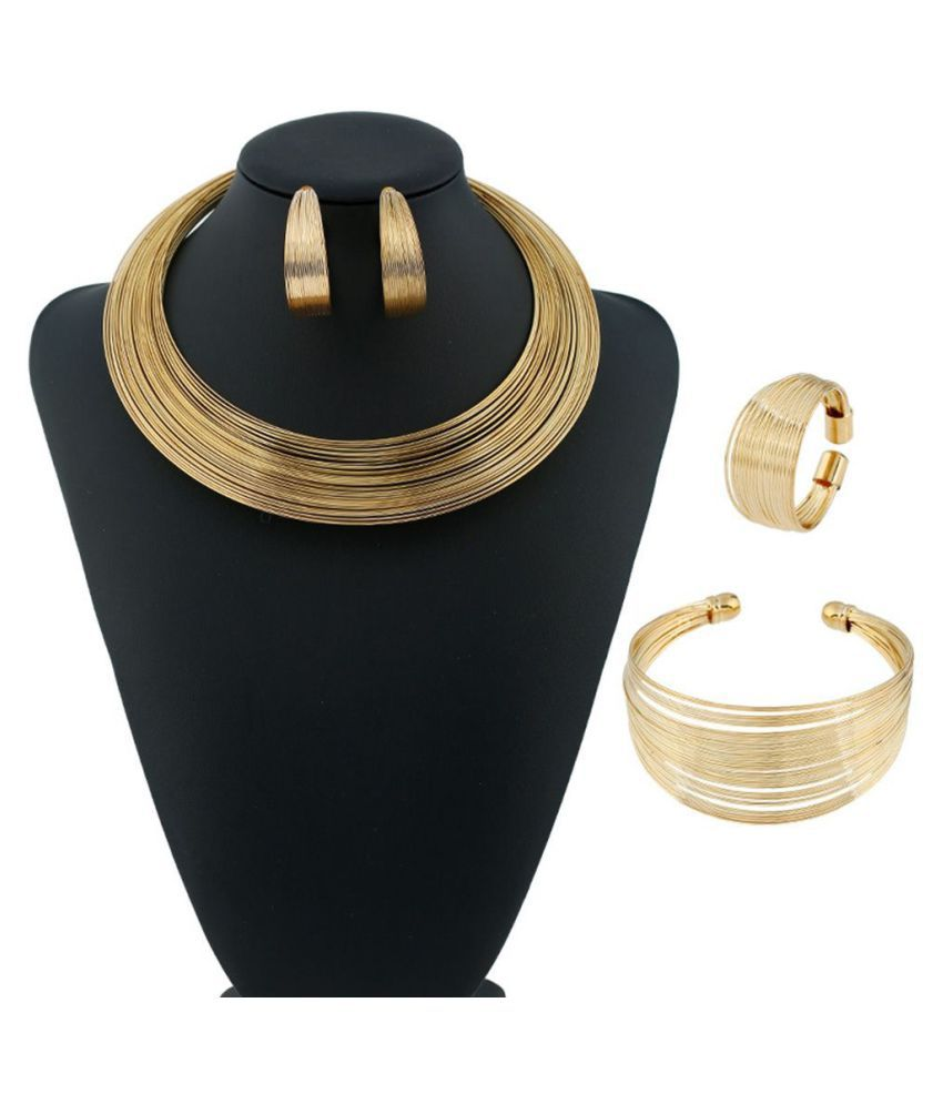 Rock Style Collar Necklace Striped Metal European And American Jewelry Sets Women Gift For Party & Wedding Necklace & Earrings & Ring & Bracelet