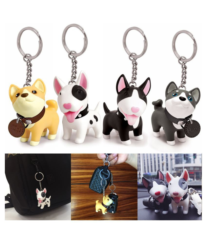 Cute Dog Keychain for Car Anime Action Figure PVC Doll ToysKey Holder Shiba Inu Bull Terrier Doll Excellent Gift