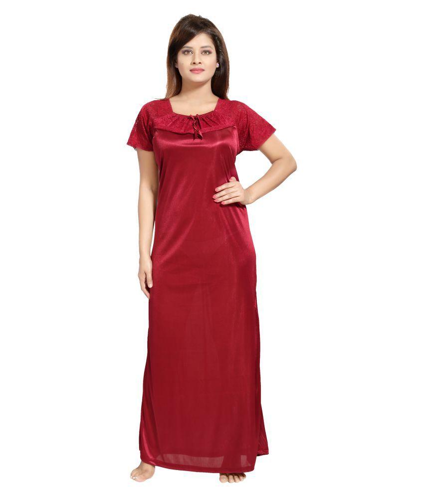 Shopping Station Satin Night Dress - Red
